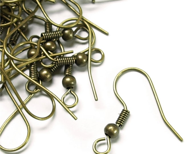 CLOSEOUT - Earwire, Fishhook Ball/Coil, Antique Brass - 200 Pieces (EWBAB-FHBC)