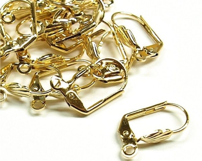 Earwire, Leverback Shell, Gold - 10 Pieces (EWBGP-LBS)