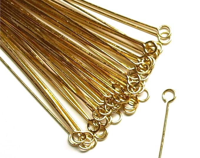 CLOSEOUT - Eye Pin, 2 in/24 ga, Gold - 500 Pieces (EPBGP-5024)