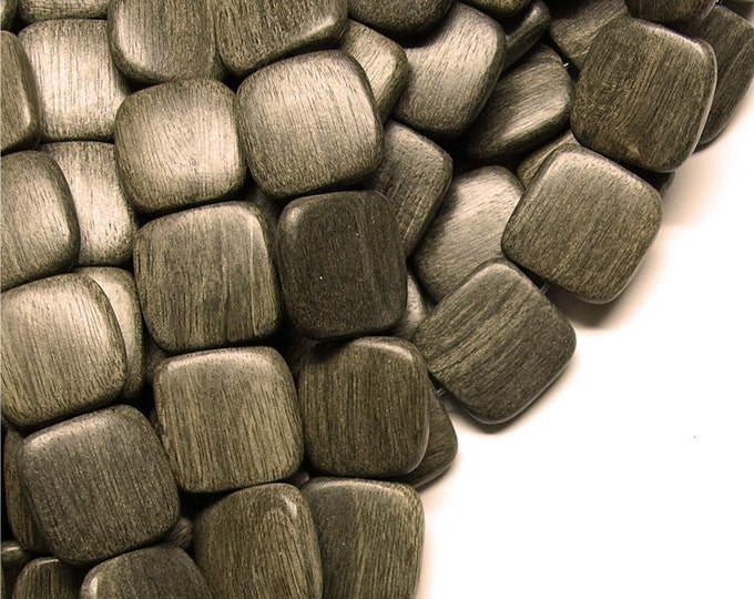 Wood Bead, Flat Square 16mm, Graywood - Three 16 Inch Strands (WDSQ-16GR)