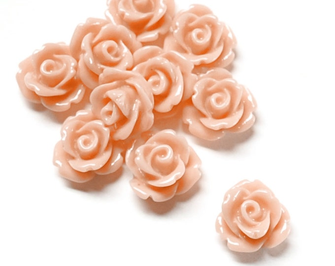 Resin Cabochon, Rose 10mm, Peach - 10 Pieces (RSCRS-10PE)
