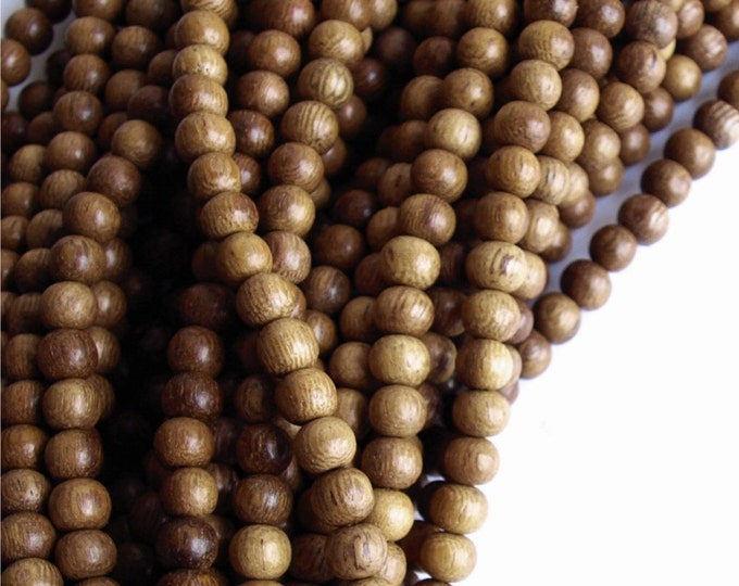 Wood Bead, Round 5mm, Robles - Five 16 Inch Strands (WDRD-05RB)