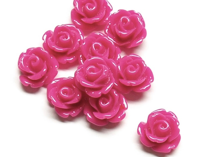 Resin Cabochon, Rose 10mm, Fuchsia - 10 Pieces (RSCRS-10FS)