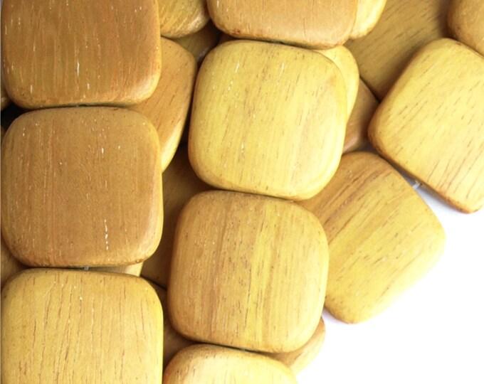Wood Bead, Flat Square 25mm, Nangka - 16 Inch Strand (WDSQ-25NK)