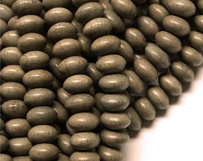 Wood Bead, Rondelle 6x10mm, Graywood - 8 Inch Strand (WDRN-10GR)