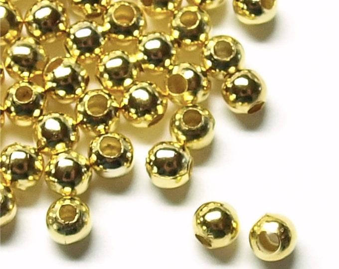 Bead, Round, 4mm, Gold - 100 Pieces (BDBGP-RD40)