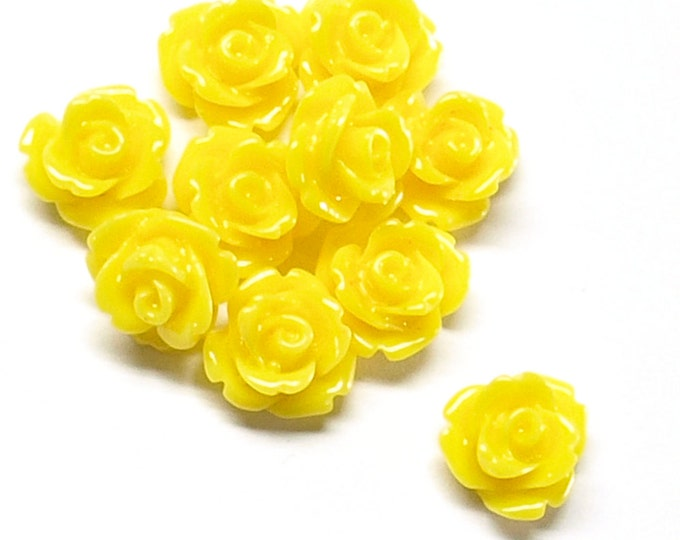 CLOSEOUT - Resin Cabochon, Rose 10mm, Sunflower - 50 Pieces (RSCRS-10SN)