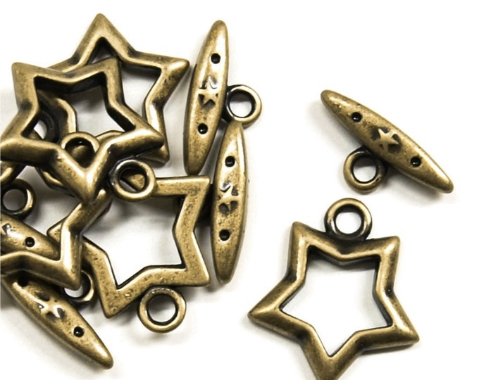 Clasp, Toggle, 15mm, Antique Brass - 5 Sets (CLAAB-TG02)