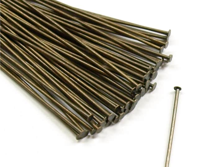 CLOSEOUT - Head Pin, 2 in/21 ga, Antique Brass - 500 Pieces (HPBAB-5021)