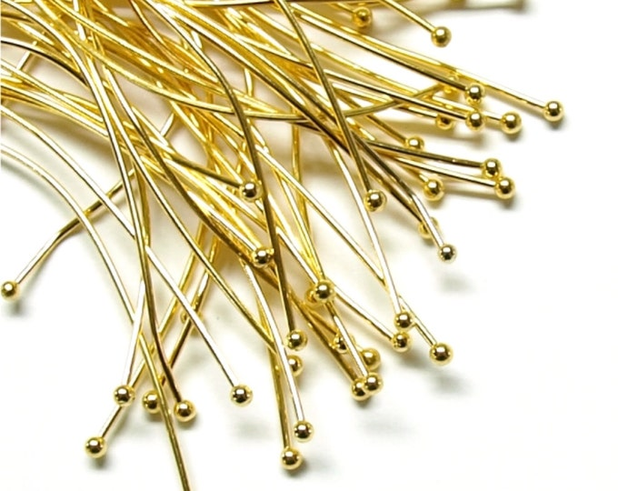 Ball Head Pin, 2 in/22 ga, Gold - 50 Pieces (RPBGP-5022)