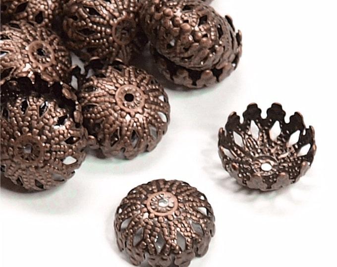 CLOSEOUT - Bead Cap, 12mm, Antique Copper - 50 Pieces (BCBAC-06)