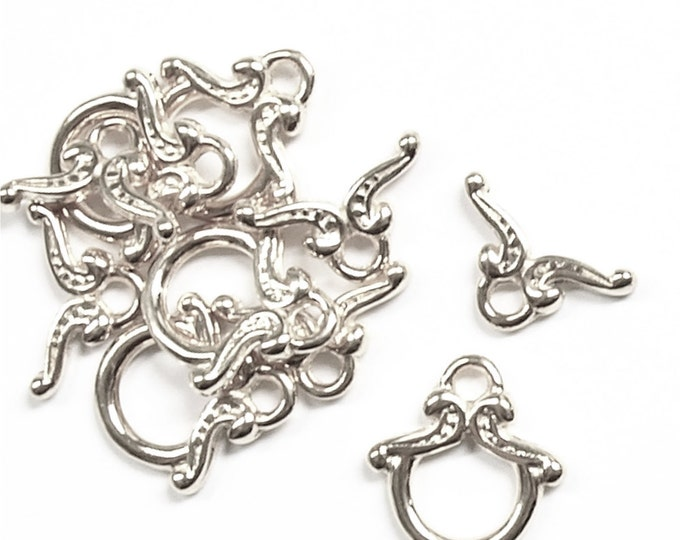 Clasp, Toggle, 12mm, Silver - 5 Sets (CLASP-TG01)