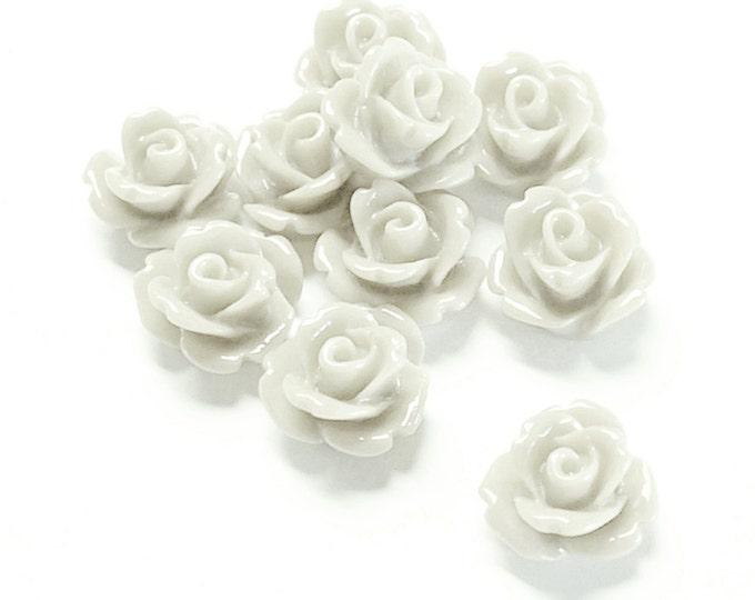 Resin Cabochon, Rose 10mm, White - 10 Pieces (RSCRS-10WT)