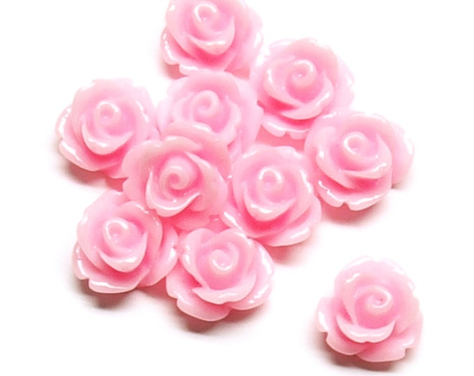 Resin Cabochon, Rose 10mm, Pink - 10 Pieces (RSCRS-10PK)