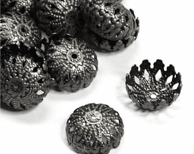 CLOSEOUT - Bead Cap, 12mm, Gunmetal - 50 Pieces (BCBGM-06)