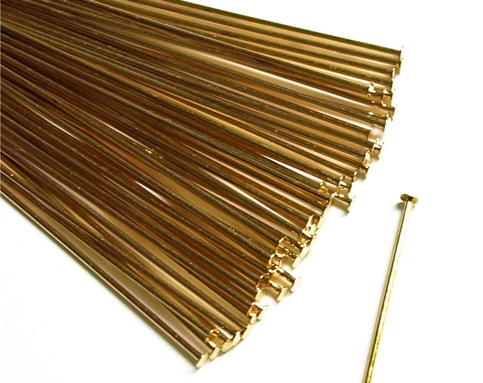 Head Pin, 2 in/21 ga, Gold - 50 Pieces (HPBGP-5021)