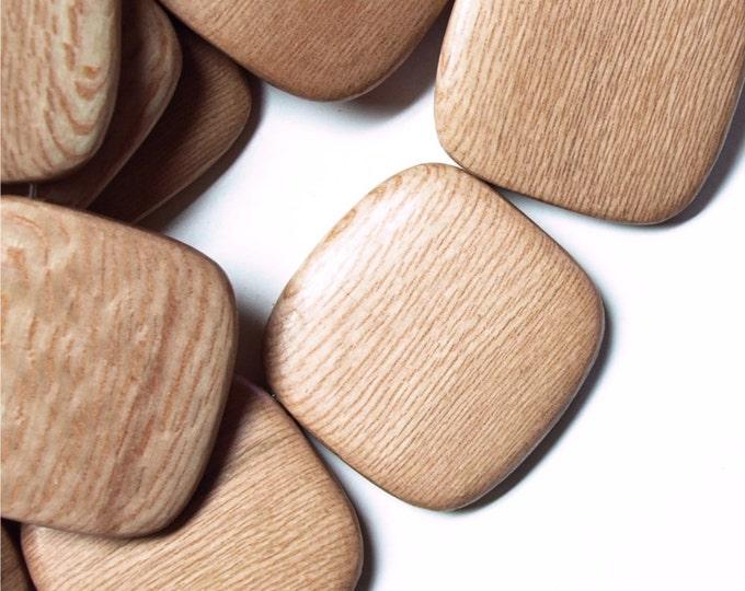 Wood Bead, Flat Square 35mm, Rosewood - 8 Inch Strand (WDSQ-35RS)