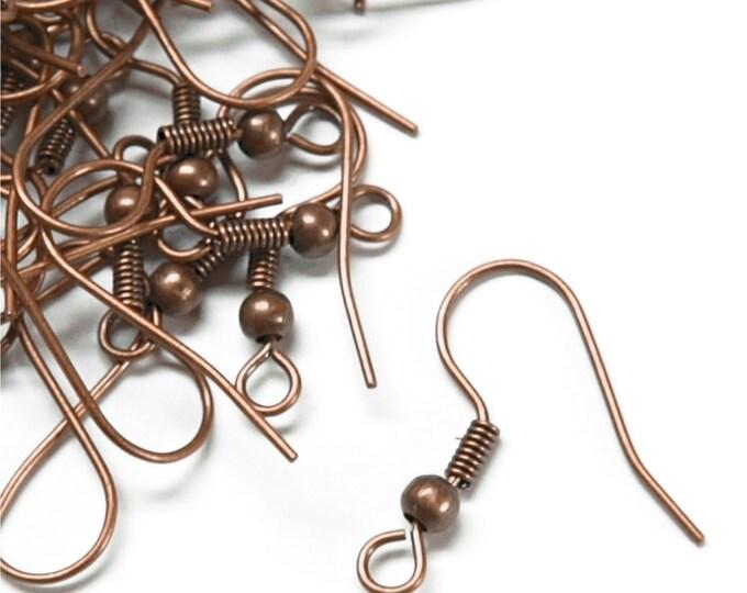 CLOSEOUT - Earwire, Fishhook Ball/Coil, Antique Copper - 200 Pieces (EWBAC-FHBC)