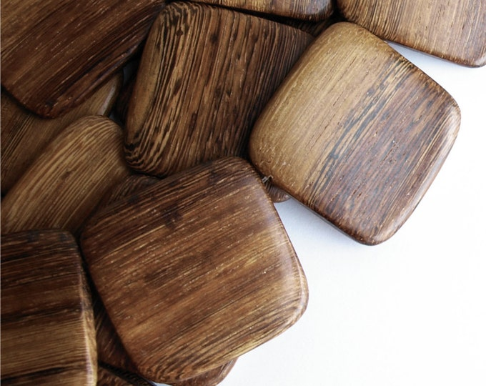 Wood Bead, Flat Square 35mm, Robles - 16 Inch Strand (WDSQ-35RB)