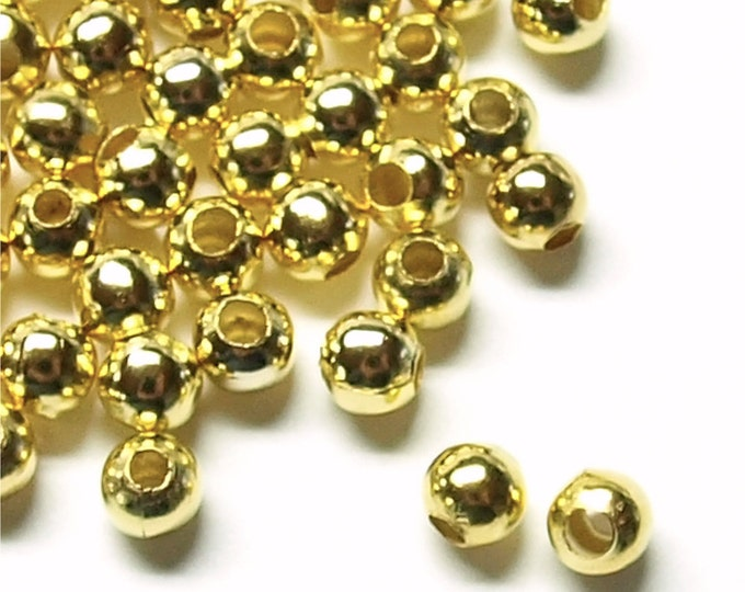 CLOSEOUT - Bead, Round, 4mm, Gold - 500 Pieces (BDBGP-RD40)