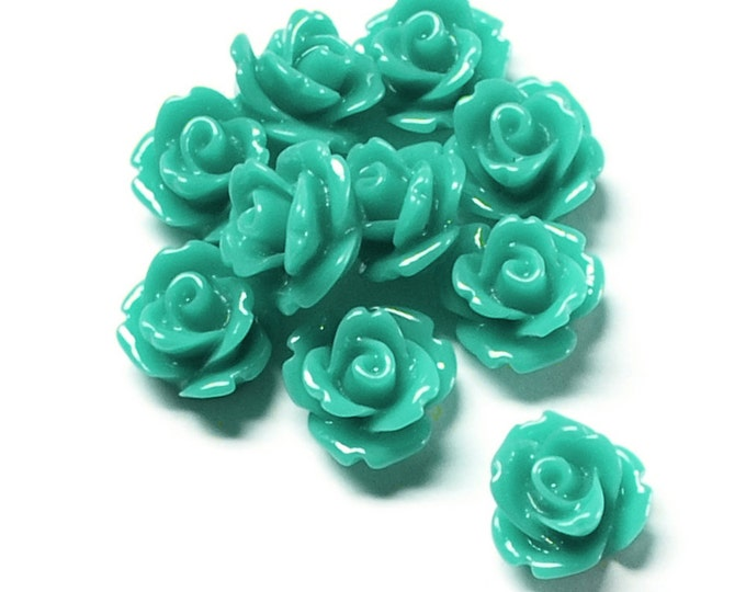 Resin Cabochon, Rose 10mm, Turquoise - 10 Pieces (RSCRS-10TQ)