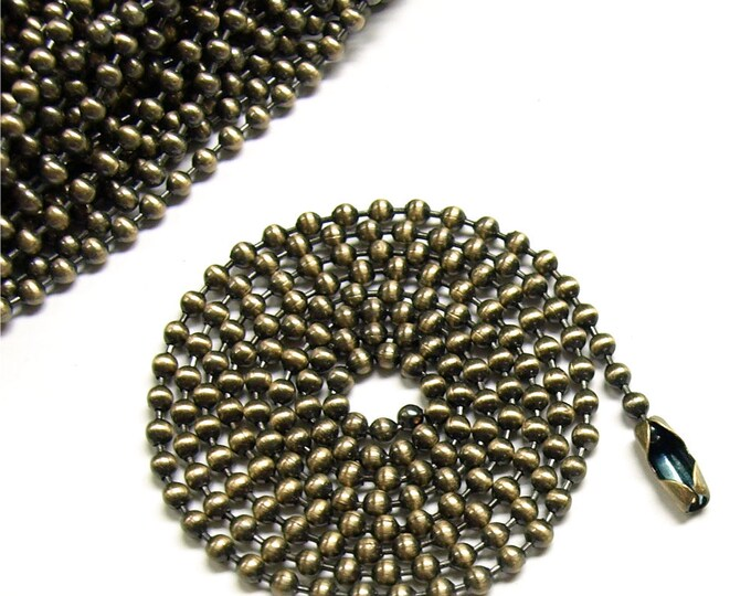 CLOSEOUT - Necklace Chain, Ball 2.4mm, 24 Inch, Antique Brass - 25 Chains (NKBAB-BL2424)