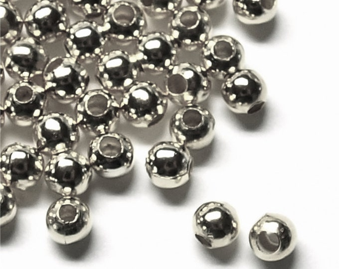 Bead, Round, 4mm, Rhodium - 100 Pieces (BDBRP-RD40)
