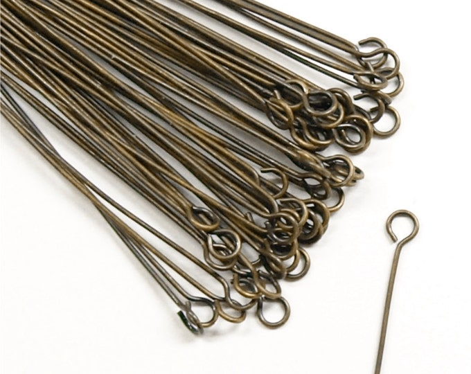 CLOSEOUT - Eye Pin, 2 in/24 ga, Antique Brass - 500 Pieces (EPBAB-5024)
