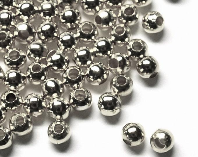 Bead, Round, 3mm, Rhodium - 100 Pieces (BDBRP-RD30)