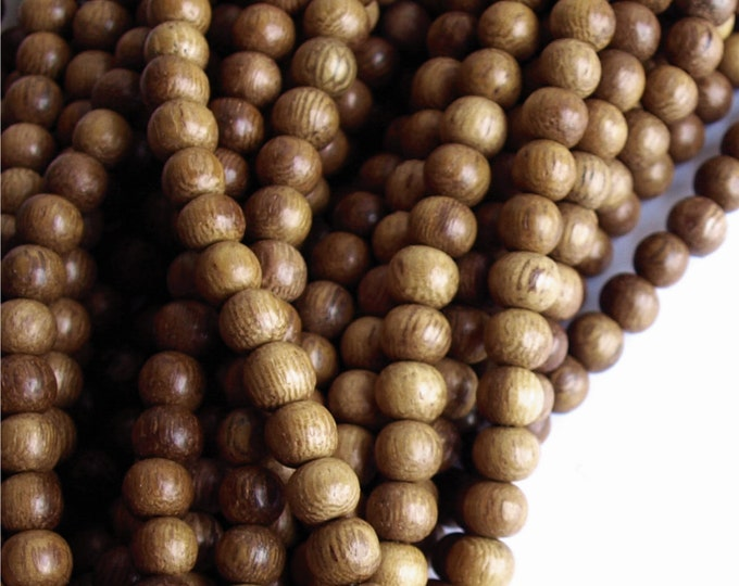 Wood Bead, Round 6mm, Robles - Five 16 Inch Strands (WDRD-06RB)
