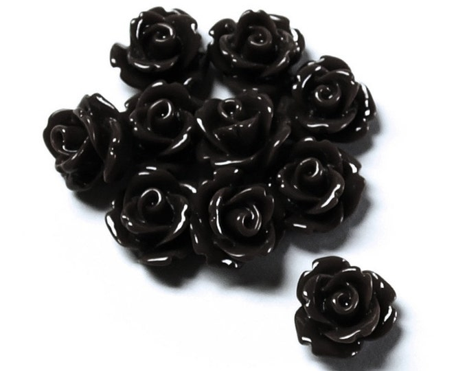 Resin Cabochon, Rose 10mm, Jet - 10 Pieces (RSCRS-10JT)