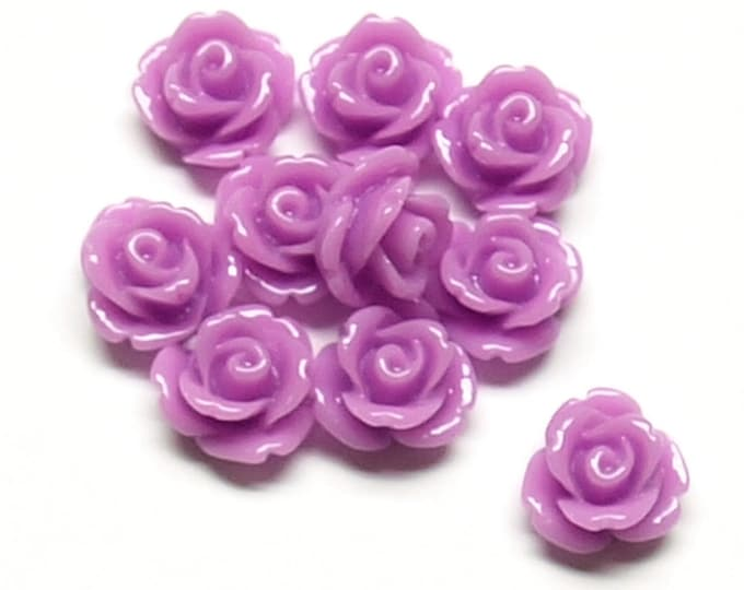 CLOSEOUT - Resin Cabochon, Rose 10mm, Violet - 50 Pieces (RSCRS-10VI)