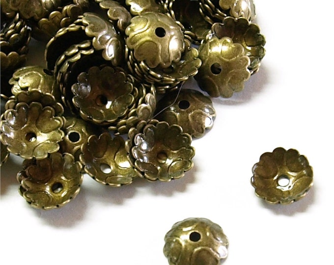 Bead Cap, 7mm, Antique Brass - 50 Pieces (BCBAB-08)