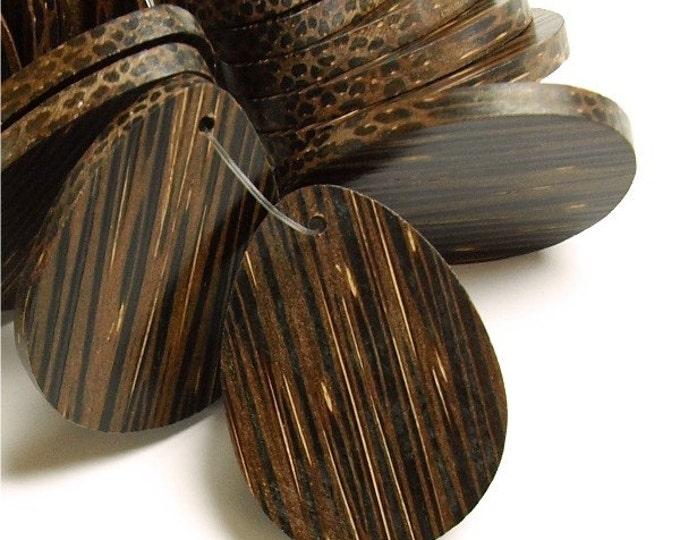 Wood Pendant, Flat Teardrop 30x40mm, Old Palm - 10 Pieces (WDTDF-40PM)