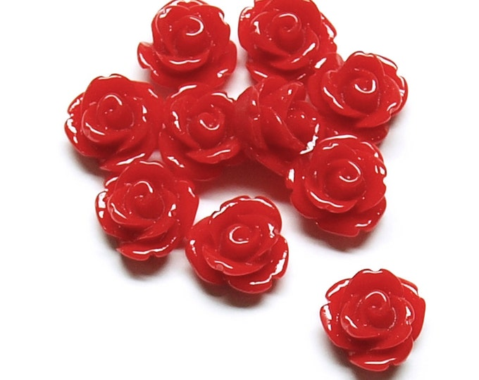 Resin Cabochon, Rose 10mm, Crimson - 10 Pieces (RSCRS-10CR)