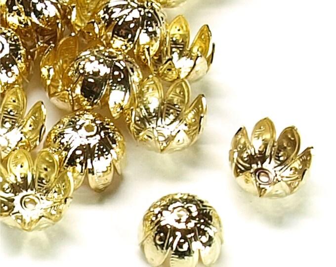 Bead Cap, 10mm, Gold - 10 Pieces (BCBGP-05)