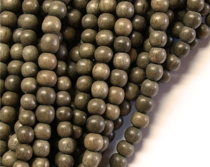 Wood Bead, Round 6mm, Graywood - Ten 16 Inch Strands (WDRD-06GR)