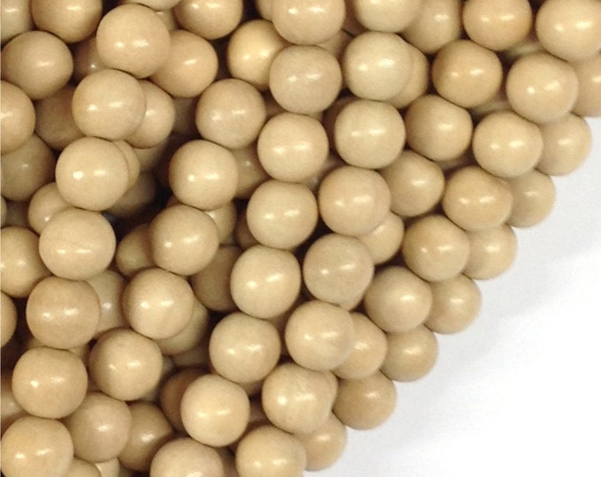 Wood Bead, Round 8mm, Whitewood (natural) - Twenty 16 Inch Strands (WDRD-08WT)