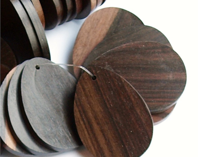 Wood Pendant, Flat Teardrop 30x40mm, Tiger Ebony - 10 Pieces (WDTDF-40TE)