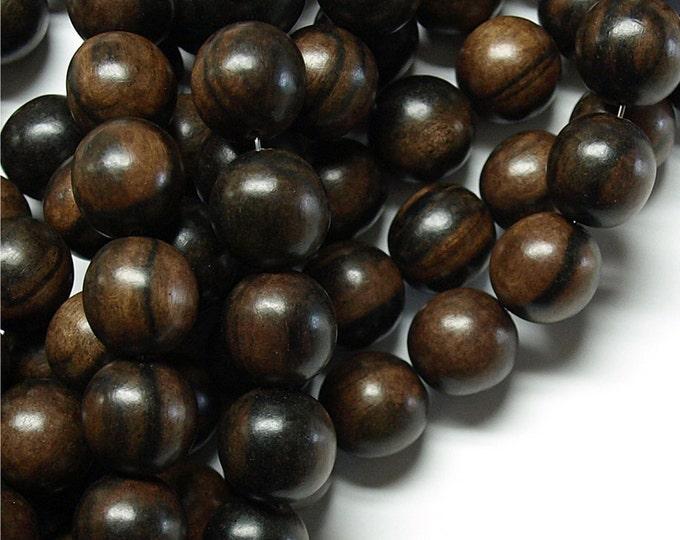 Wood Bead, Round 12mm, Tiger Ebony - Three 16 Inch Strands (WDRD-12TE)