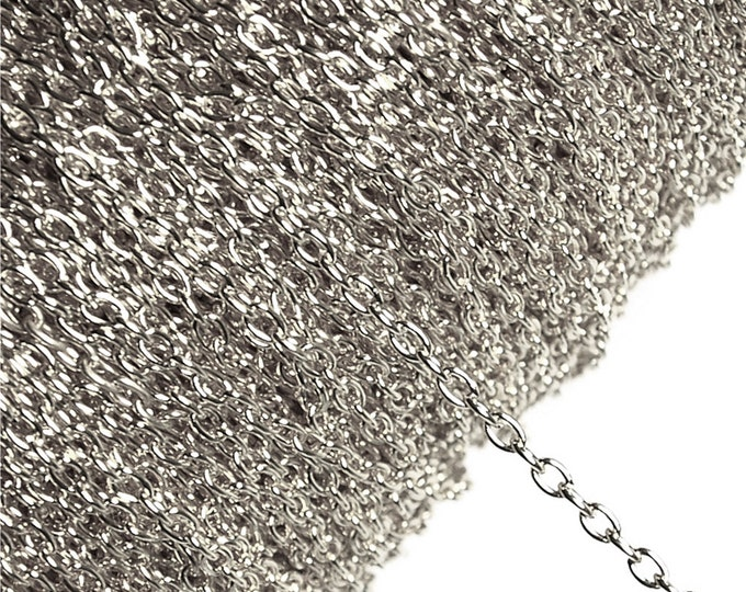 CLOSEOUT - Chain, Cable 3mm, Rhodium - 100 Meters (CHIRP-CA30)
