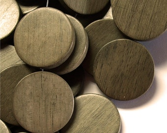Wood Bead, Coin 30mm, Graywood - 8 Inch Strand (WDCN-30GR)