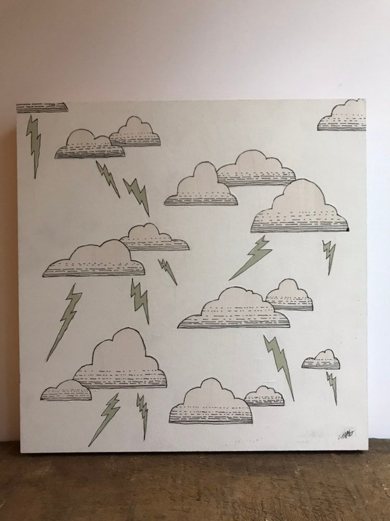 Thunderstorm Painting, Thunder and Lightning Original Pen & Ink Art on Wood  Panel by Crystala Armagost