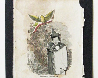 Collage on antique book page, circus