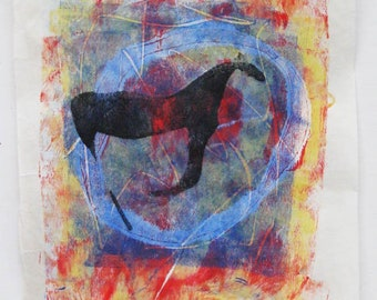Galloping horse, monoprint on kozuke paper, original art