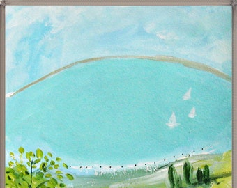 Original painting, landscape, Lake with sailboats, acrylic on paper