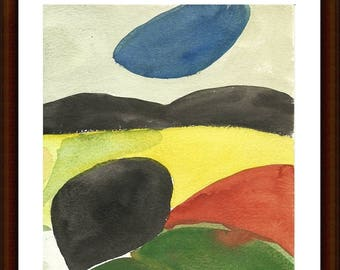 Original painting, abstract landscape, watercolor on paper