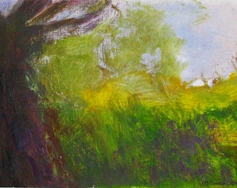 Ancient olive tree, south of France, acrylic painting on canvas paper, original art