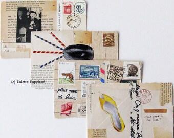 SALE, Collage postcards,  original art, set of 4 collages