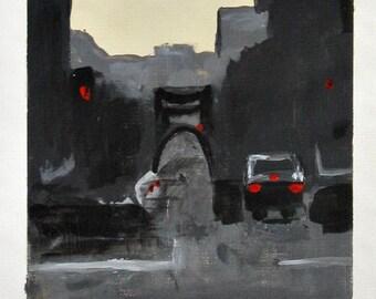 Nocturne, original painting, landscape, acrylics on canvas paper, cityscape, evening city scene